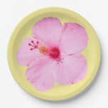 Pink Hibiscus Tropical Flower Paper Plate