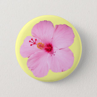 Pink Hibiscus Tropical Flower Pinback Button
