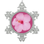 Pink Hibiscus Tropical Flower Snowflake Pewter Christmas Ornament