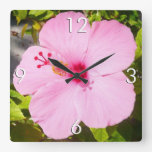Pink Hibiscus Tropical Flower Square Wall Clock