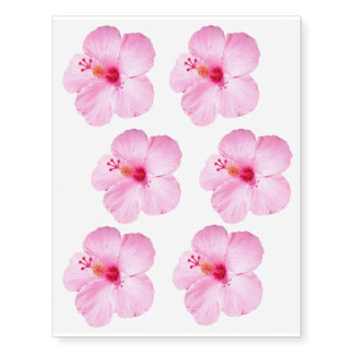 Pink Hibiscus Tropical Flower Temporary Tattoos