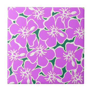 Pink Hibiscus Tropical Flowers Hawaiian Luau Party Ceramic Tile