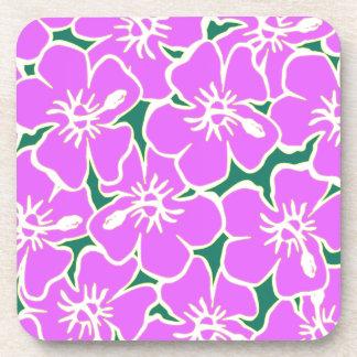 Pink Hibiscus Tropical Flowers Hawaiian Luau Party Coaster