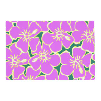 Pink Hibiscus Tropical Flowers Hawaiian Luau Party Laminated Placemat