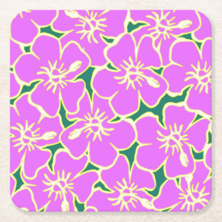 Pink Hibiscus Tropical Flowers Hawaiian Luau Party Square Paper Coaster