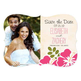 Pink Hibiscus Tropical Themed Save the Date Cards