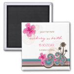 Pink Hibiscus Tropical Waves Beach Save The Date 2 Inch Square Magnet