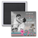 Pink Hibiscus Tropical Waves Beach Save The Date Fridge Magnets
