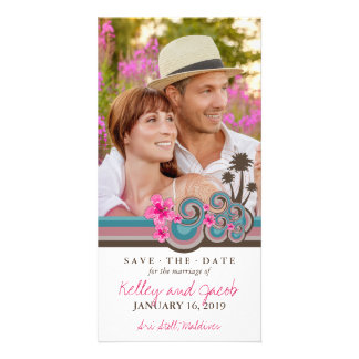 Pink Hibiscus Tropical Waves Beach Save The Date Photo Cards