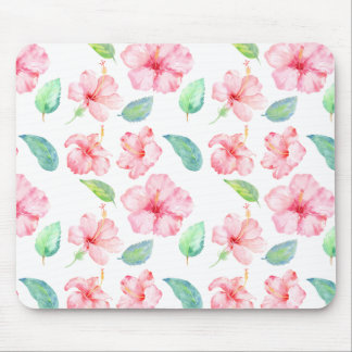 Pink Hibiscus Watercolor Flowers Mouse Pad