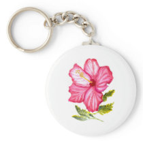 Pink hibiscus watercolor keychain