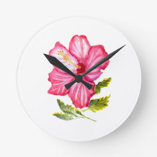 Pink hibiscus watercolor round clock