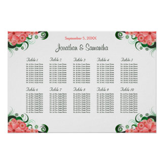 Pink Hibiscus Wedding 10 Tables Seating Charts