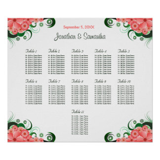 Pink Hibiscus Wedding 11 Tables Seating Charts Poster