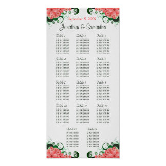 Pink Hibiscus Wedding 14 Tables Seating Charts Poster