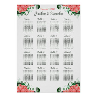 Pink Hibiscus Wedding 16 Tables Seating Charts Poster
