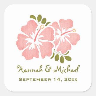 Pink Hibiscus Wedding Favor Sticker Seal
