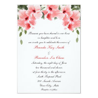 Pink Hibiscus Wedding Invitations