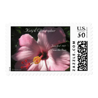 Pink Hibiscus Wedding Postage Save the Date