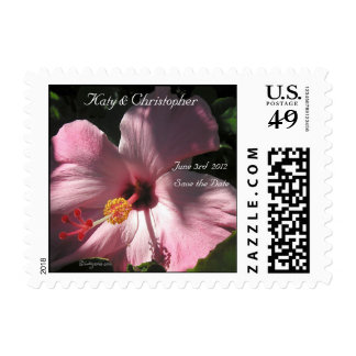 Pink Hibiscus Wedding Postage Save the Date Postage Stamps