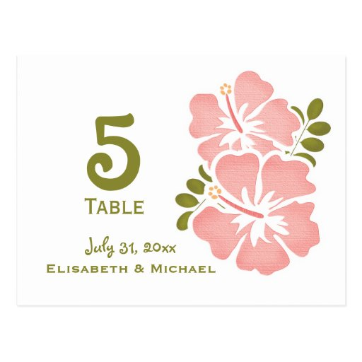 Pink Hibiscus Wedding Reception Table Number Card