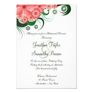 Pink Hibiscus Wedding Rehearsal Dinner Invitation