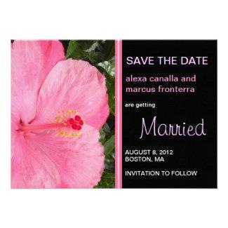 Pink Hibiscus Wedding Save the Date Card Custom Invites