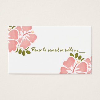 Pink Hibiscus Wedding Table Place Cards