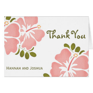 Pink Hibiscus Wedding Thank You Notes Cards