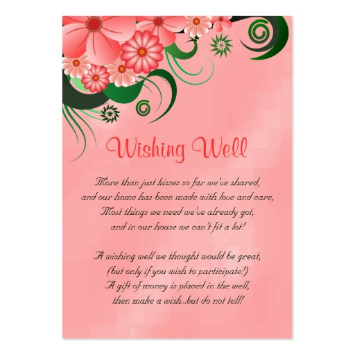 Hibiscus Pink Floral Wedding Wishing Well Cards Business Card Template