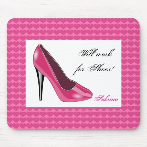 Pink High Heel and Hearts Mouse Pad