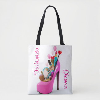 Pink High Heel & Cosmetic Glamour Fashionista Tote Bag