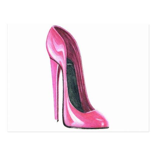 Pink High Heel Shoe Art Postcard