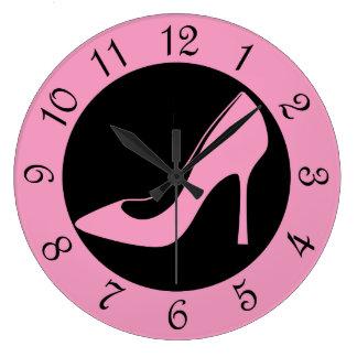Pink High Heel Shoe Large Clock