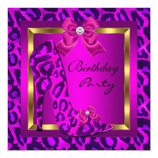 Pink High Heel Shoe Leopard Birthday Party Card