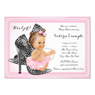 Pink High Heel Shoe Tutu Pearl Baby Shower Card