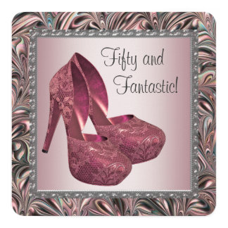Pink High Heel Shoes Birthday Party 5.25x5.25 Square Paper Invitation Card