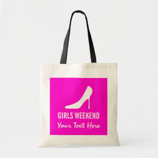 Pink high heel shoes girls weekend tote bag