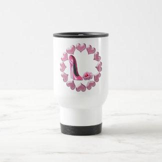 Pink High Heel Stiletto, Rose and Hearts Travel Mug