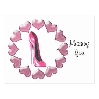 Pink High Heel Stiletto Shoe Art Hearts Post Cards