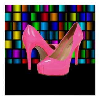 Pink High Heels & Colorful Square Grids Poster