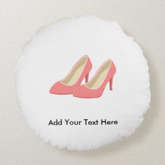 Pink High Heels - Elegant 1950s Girly Pumps Round Pillow