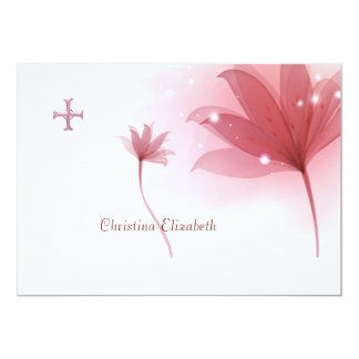 """Pink High Personalized Religious Thank You 5"""" X 7"""" Invitation Card"""