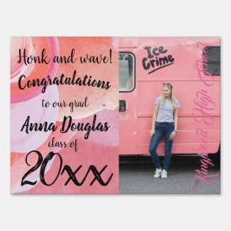 Pink High School Graduation Yard Sign