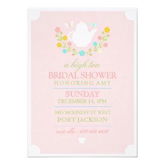 "Pink High Tea Bridal Shower Invitation 5.5"" X 7.5"" Invitation Card"