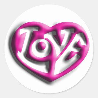 Pink Hippie Love Classic Round Sticker