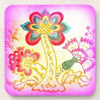 pink hippie-style palm tree coaster