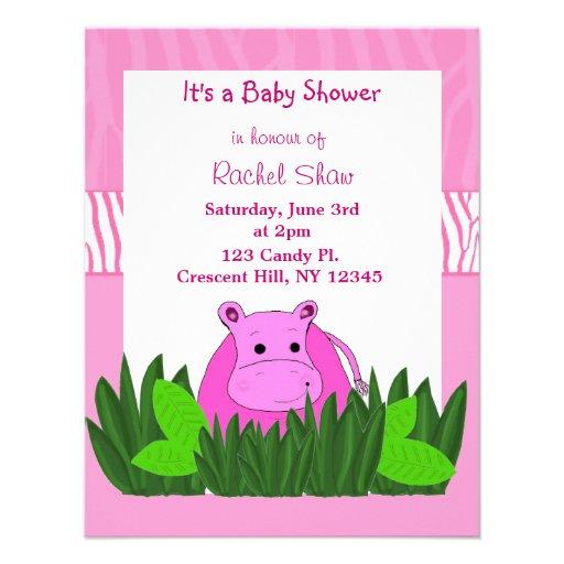 hippo baby shower invitation x 5 5 invitation card zazzle