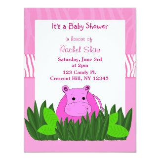 "Pink Hippo Baby Shower Invitation 4.25"" X 5.5"" Invitation Card"
