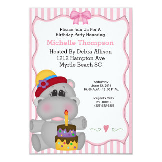 Pink Hippo Birthday Party Invitations